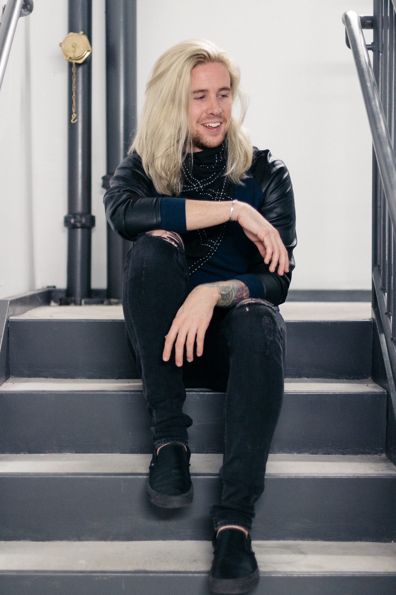 urban outfitters, anchal project, mens fall fashion, aloft hotel louisville, men with platinum blonde hair, aloft louisville