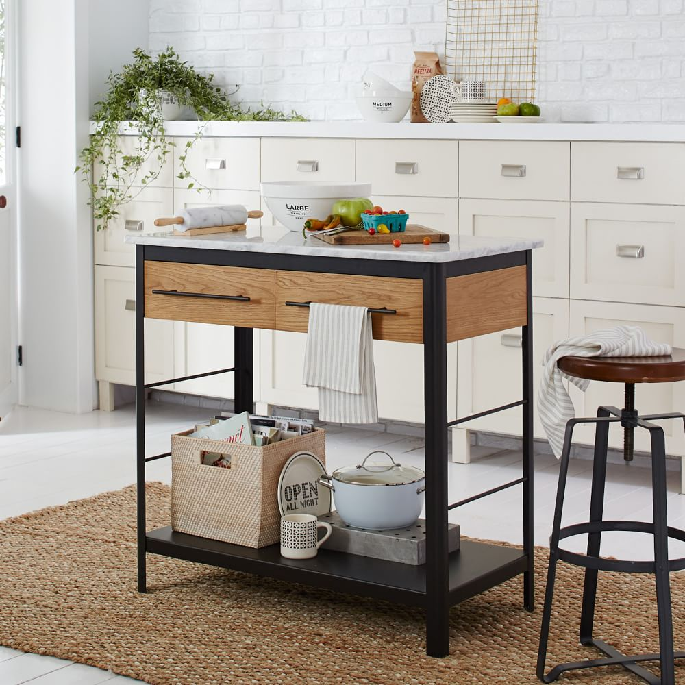rolling kitchen island, apartment kitchen hacks, how to make the most of your apartment kitchen, kitchen island hacks, how to add counter space to your kitchen