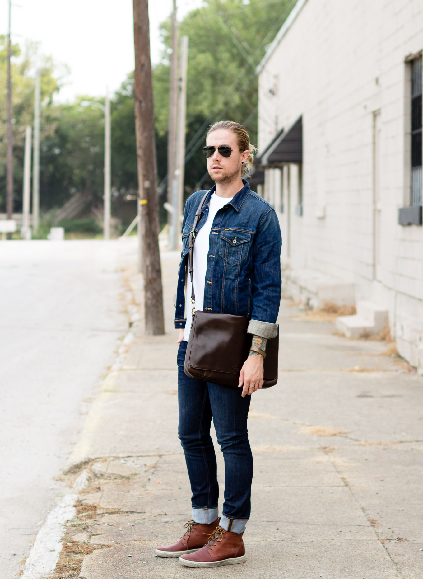 fossil, fossil aiden messenger bar, mens messenger bags, fall fashion, denim jacket