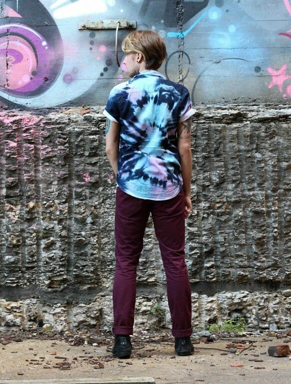 The Kentucky Gent in Topman Short Sleeve Tie-Dye Denim Shirt, T-Shirt by Obey, Levi's 511 Commuter Jeans, and Topman Boots