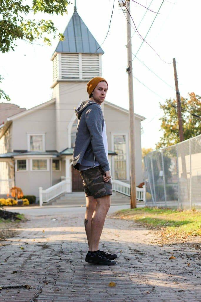The Kentucky Gent in Camo Shorts by Topman, V-Neck by BDG, Hoodi