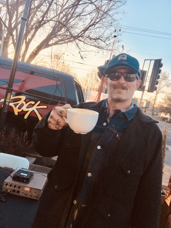 Tim Buc Moore toasting to a successful Wake the Buc Up morning show broadcast at Coffee Ranch in Chico