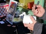 Tim Buc Moore customizing Z-Rock Doodle Mugs at Mugshots Coffee House in Oroville for Wake the Buc Up!