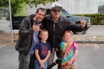 Tim Buc Moore posing with listeners at Wake the Buc Up in North Chico at Fresh Twisted Cafe