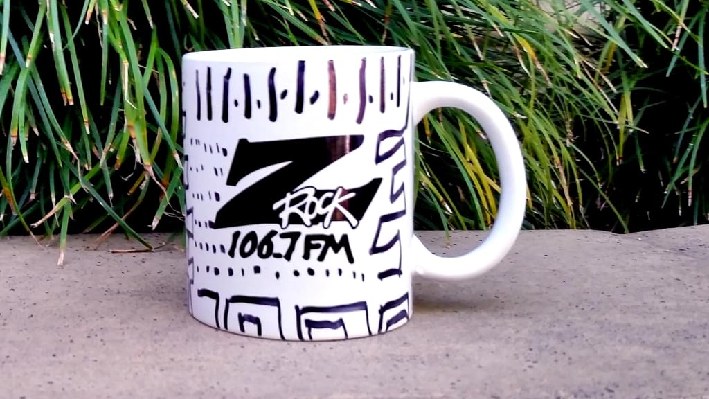 """Z-Rock """"doodle"""" mug customized by morning show personality Tim Buc Moore at Wake the Buc Up 04/25/18 at Bidwell Perk in Chico"""