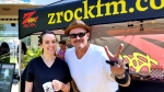 Tim Buc Moore with doodle mug recipient at Morning Thunder Cafe in Chico June 7th during Wake the Buc Up!
