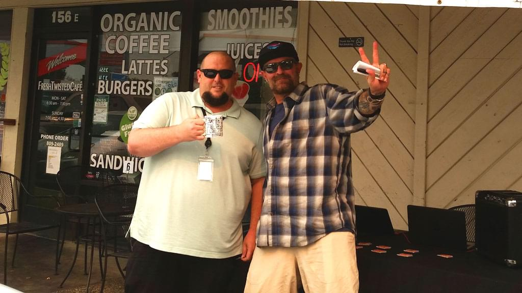 Tim Buc Moore's live morning show tour of Butte County, Wake the Buc Up with listener at Fresh Twisted Cafe in Chico August 2nd 2018