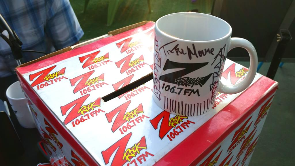 """Z-Rock """"doodle"""" mug customized by Tim Buc Moore at Coffee Ranch for Wake the Buc Up on August 30th 2018"""