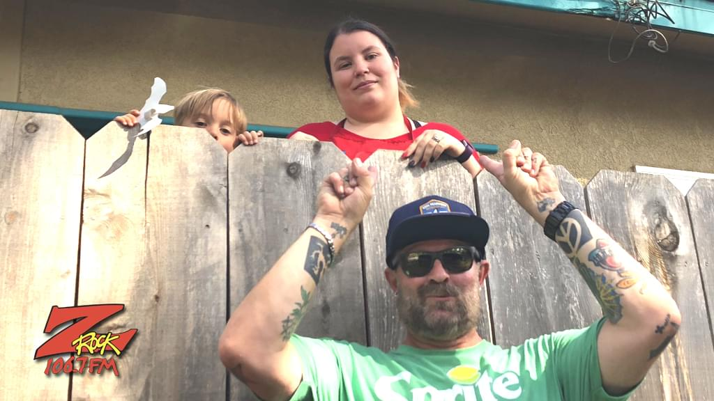 Tim Buc Moore with winner at Laura's Preschool & Daycare in Chico for the Z-Rock Munch Box