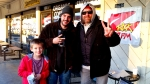 Tim Buc Moore with a few Buc Heads at Wake the Buc Up in front of Fresh Twisted Cafe December 13th 2018 in North Chico California