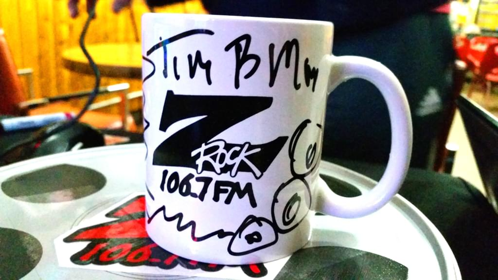 """A Z-Rock """"doodle"""" mug customized by Tim Buc Moore at Wake the Buc Up in Oroville at Mug Shots Coffee House 2/14/19"""