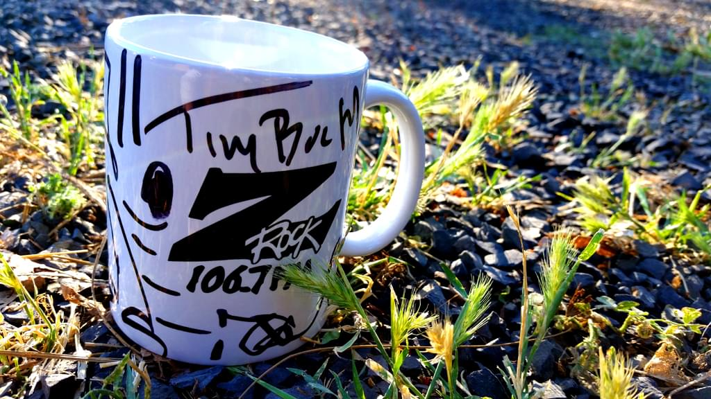 "Z-Rock ""doodle"" mug customized by Tim Buc Moore at Wake the Buc Up in Magalia CA June 27th 2019 live on 106.7 Z-Rock"