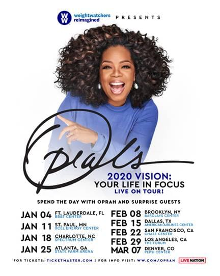 OPRAH WINFREY AND WW ANNOUNCE OPRAH'S 2020 VISION: YOUR LIFE IN FOCUS TOUR COMING TO CHARLOTTE