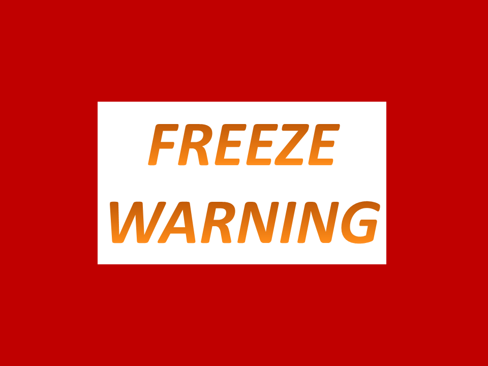 UPDATE:  Freeze Warning Friday 1am To 10am