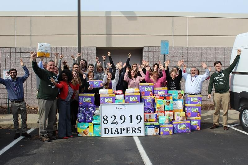 Diaper Bank Collects Record-Shattering Donation from Connex Credit Union
