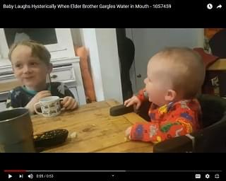Viral Video of the Day: Baby Laughs Hysterically When Big Brother Gargles Water