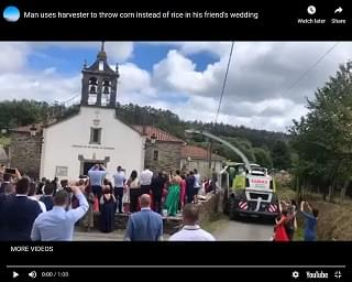 Viral Video of the Day: Harvester To Throws Rice At Friend's Wedding