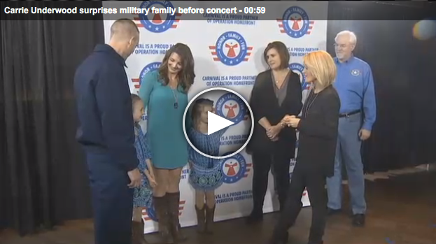 Carrie Underwood surprises military family before concert