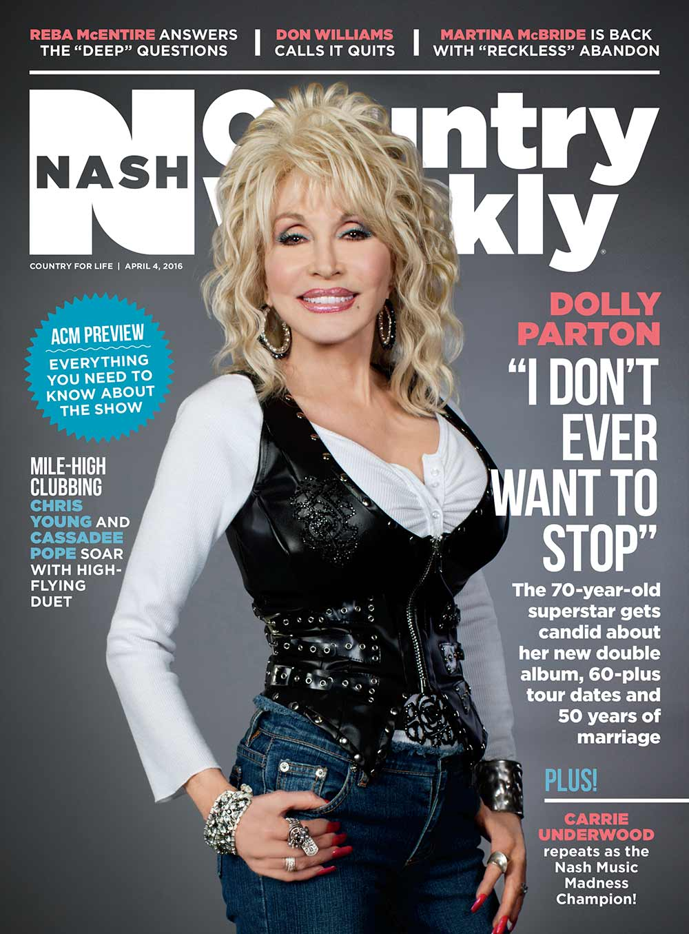 """Country Weekly 2016-04-04 Dolly Parton: """"I Don't Ever Want To Stop"""""""