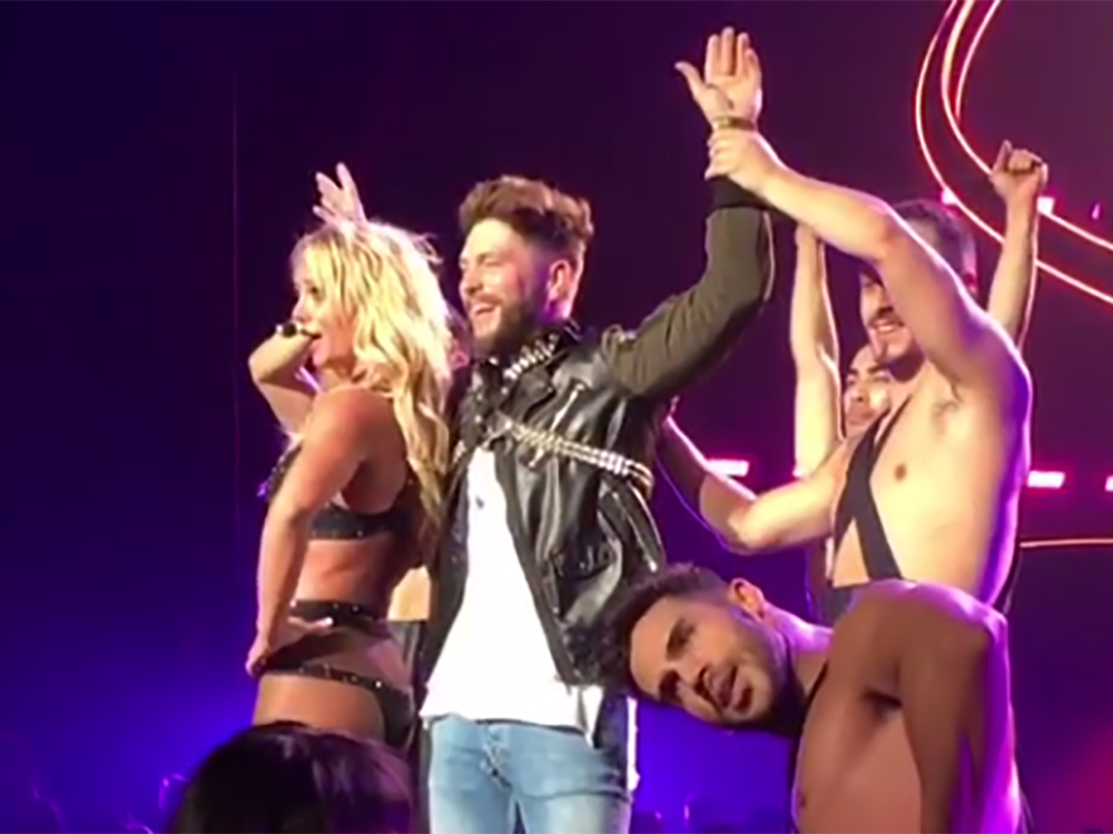 Chris Lane Gets On All Fours For Britney Spears