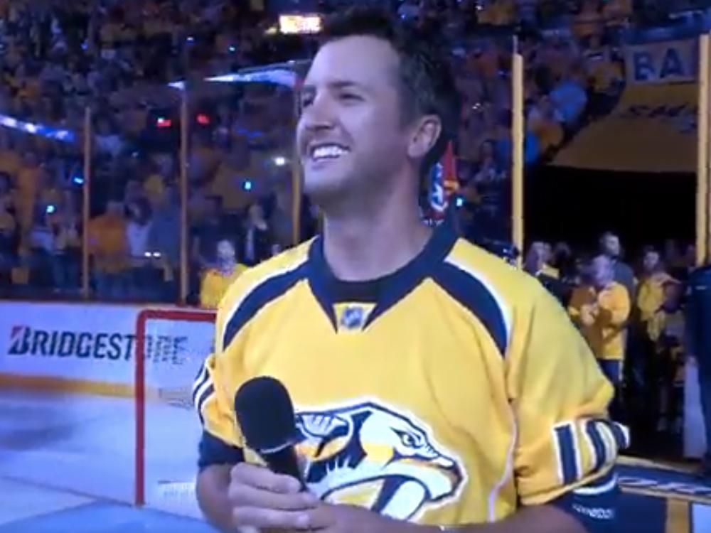 Watch Luke Bryan Perform the National Anthem Before the Nashville Predators Hockey Game
