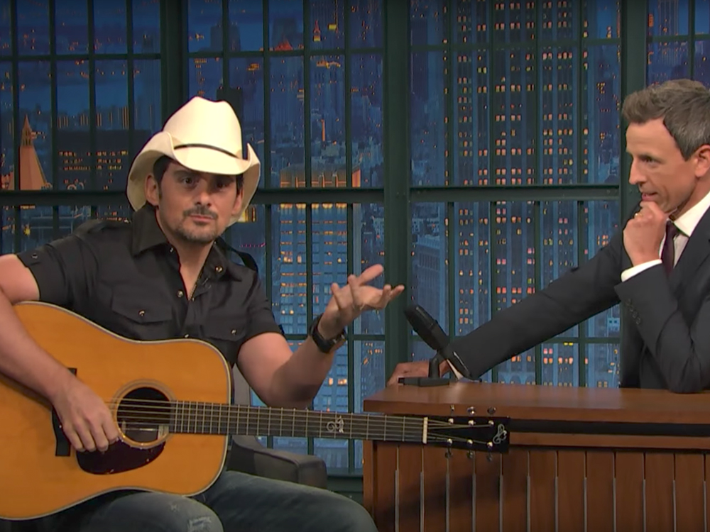 """Watch Brad Paisley Put a Comedic Twist on """"She's Everything"""" & Perform """"Last Time for Everything"""" on """"Seth Meyers"""""""