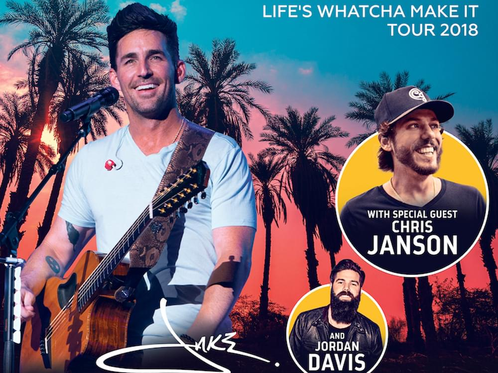 "Jake Owen Announces ""Life's Whatcha Make It Tour"" With Chris Janson & Jordan Davis"