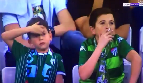 Child Smoking A Cigarette During Soccer Match?