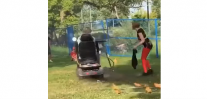 VIDEO: Man on a Hoveround Mistakenly Thinks He's Saving the Day