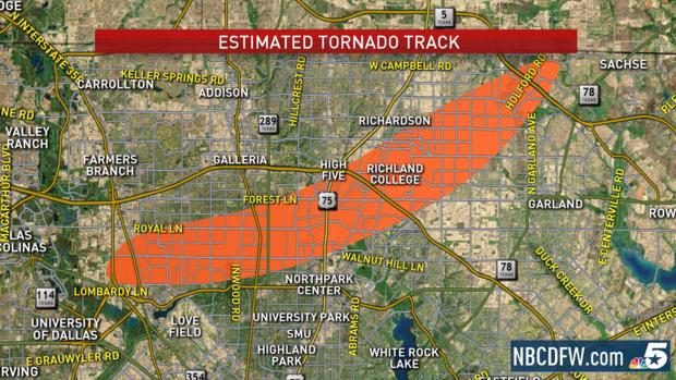 EF3 Tornado track Dallas