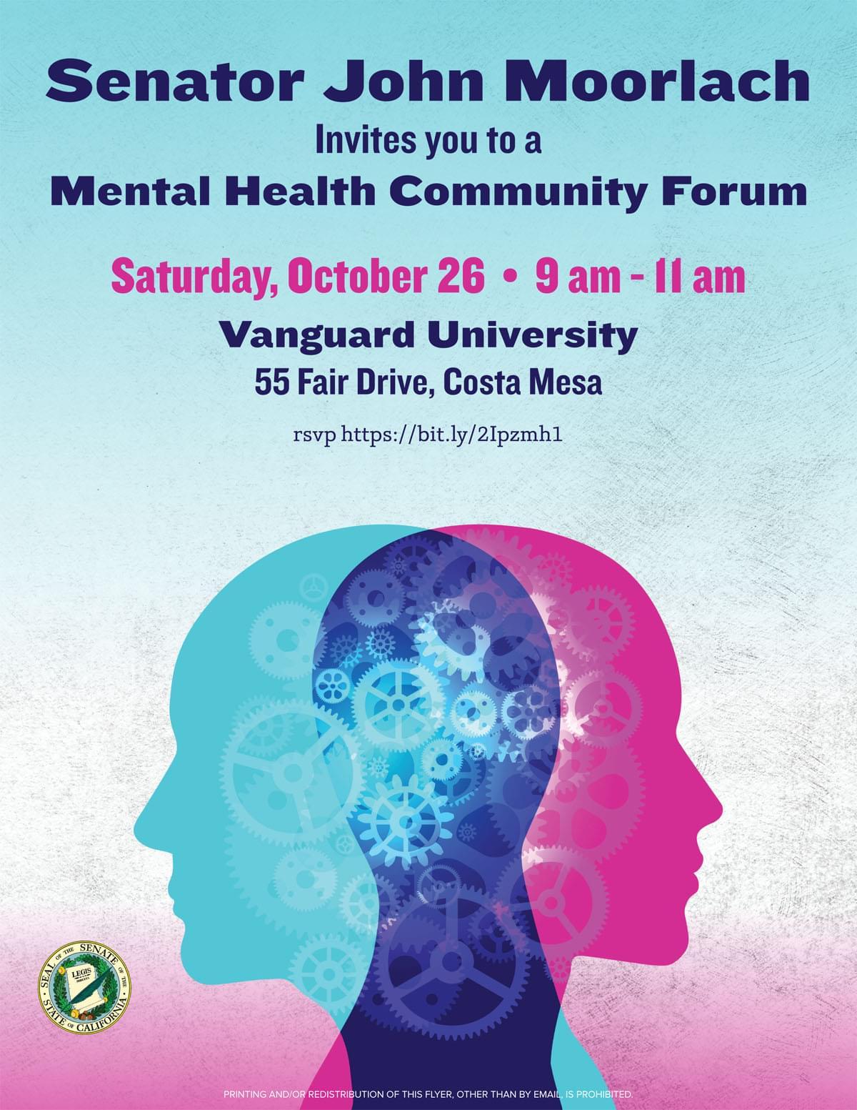 Senator John Moorlach invites you to a Mental Health Community Forum