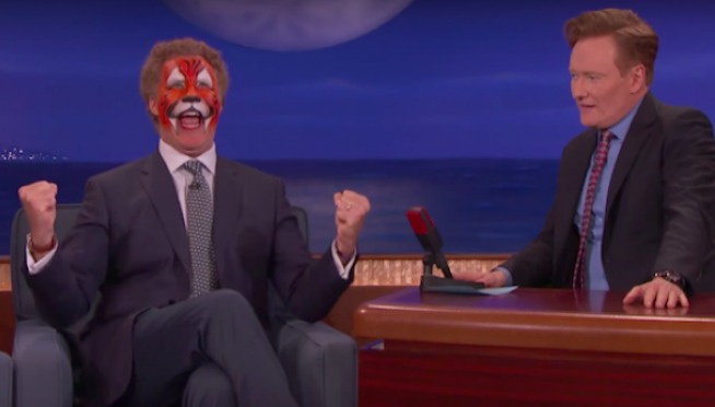 Will Ferrell with tiger face paint, will not stop singing on 'CONAN'