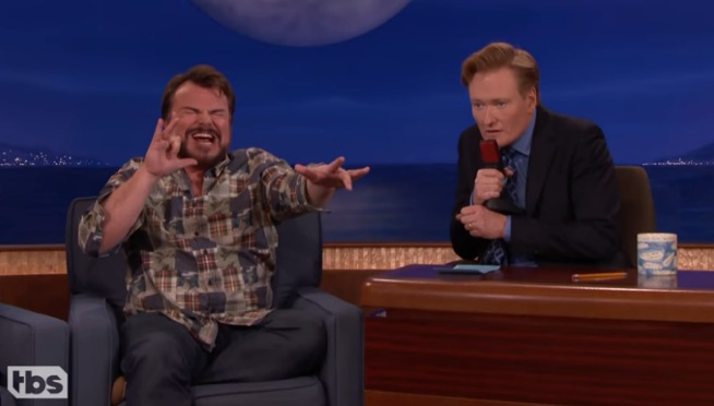 "WATCH: Jack Black Performs A ""Jumanji"" Song He Co-Wrote With Nick Jonas on CONAN"