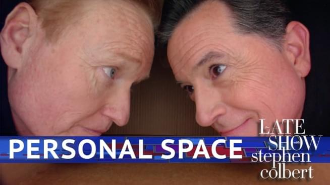 Watch Conan and Colbert invade each other's personal space