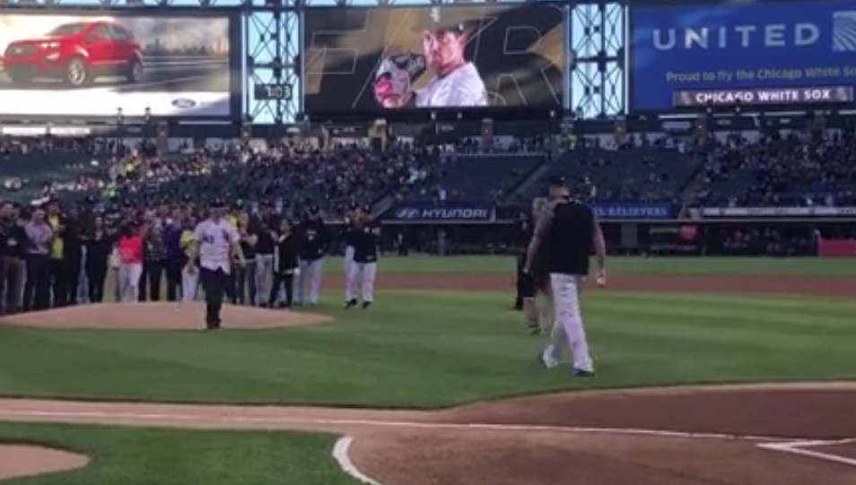 Rebounding from brain aneurysm, Sox pitcher returns for ceremonial first pitch