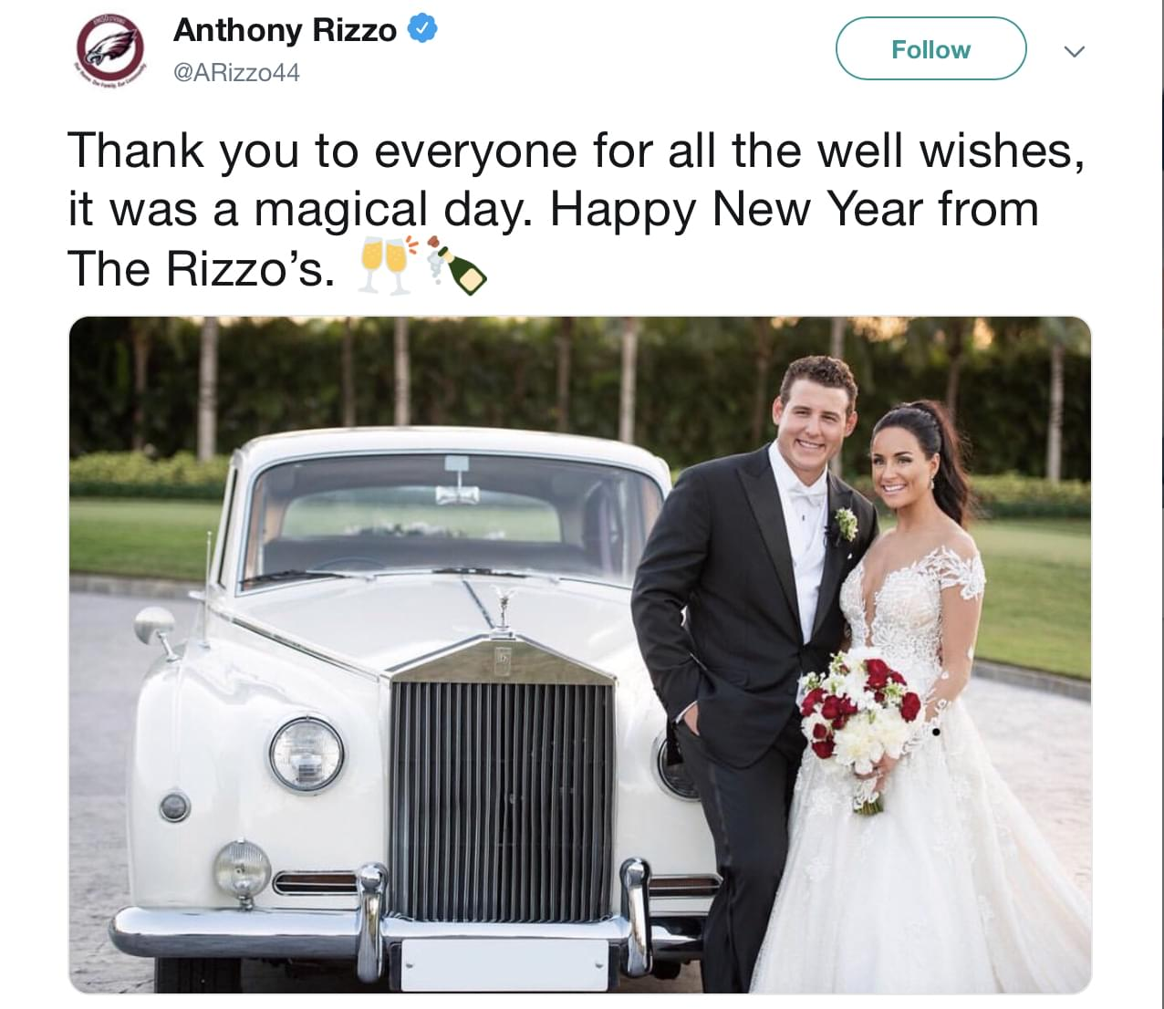 Congratulations to the new Mr. and Mrs. Anthony Rizzo