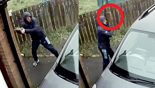 VIDEO: Guy who tries to break car window with brick gets brick right back in his face!