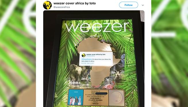 "Weezer sent a Gold Record to the girl who inspired their ""Africa"" cover"