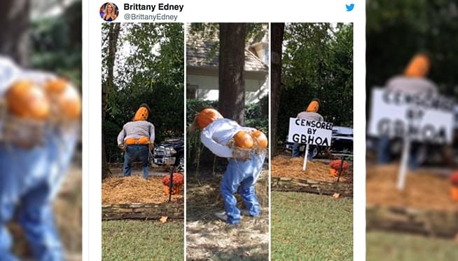 Home owners association makes guy sensor Halloween decoration