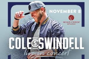Cat Country 96 Welcomes Cole Swindell to Wind Creek Event Center
