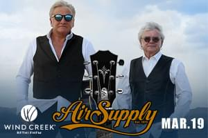 Air Supply at Wind Creek Event Center March 19th