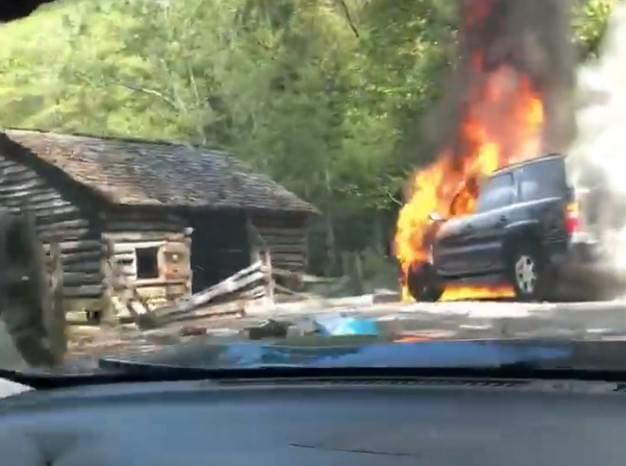 Car Fire on Cades Cove Loop