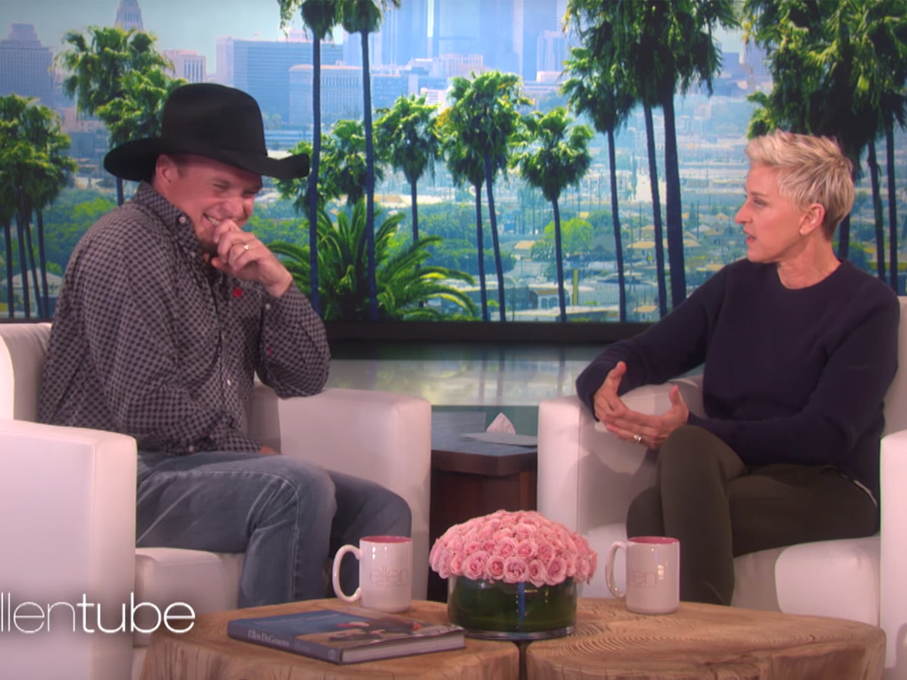 """Watch Ellen DeGeneres Make Garth Brooks Blush About the Title of His New Single, """"Baby, Let's Lay Down and Dance"""""""