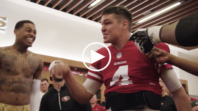 49ers locker room goes wild during Nick Mullens' post-game victory speech