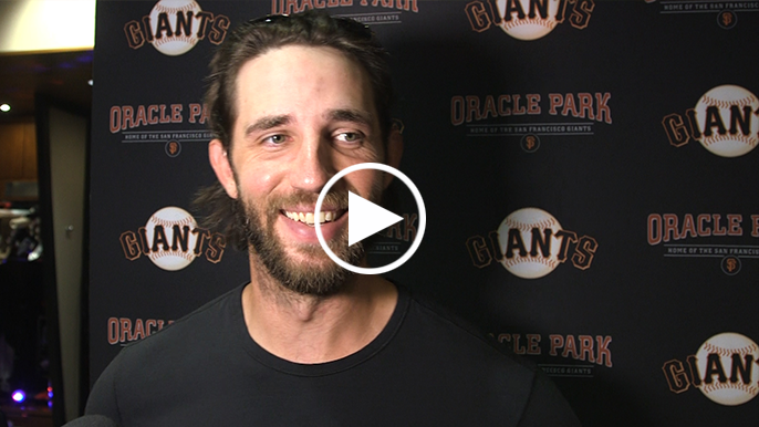 Madison Bumgarner still has his humor (and elbow) after real scare