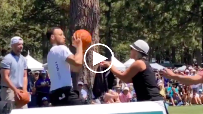 Fan spooks Stephen Curry, gets scored on by Curry at golf tournament