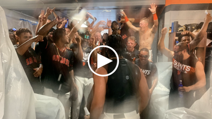 San Jose Giants go wild in clubhouse after clinching playoff berth
