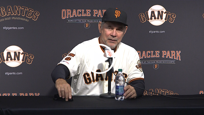 Bruce Bochy gets emotional with final question