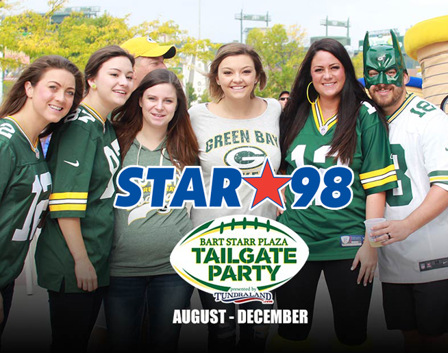 Bart Starr Plaza Tailgate Party with STAR 98 Sunday at 8:30!