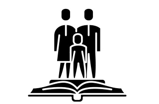 Family standing on book
